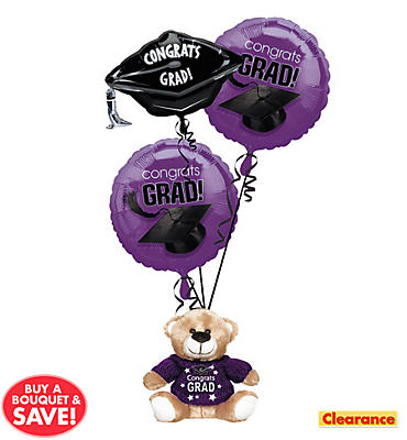 Foil Purple Graduation Balloon Bouquet 3pc with Bear