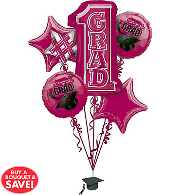 Foil Burgundy #1 Grad Graduation Balloon Bouquet 5pc