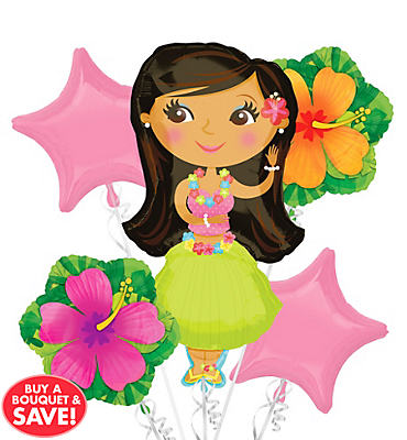 Foil Hula Girl Balloon Bouquet 5pc