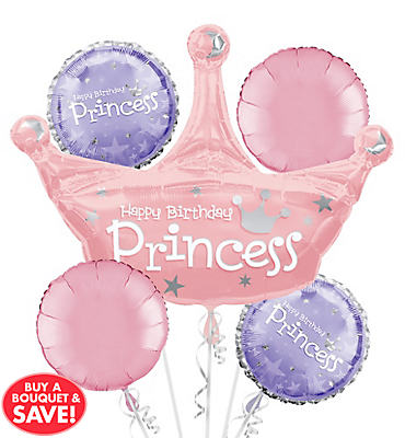 Princess Birthday Balloon Bouquet 5pc