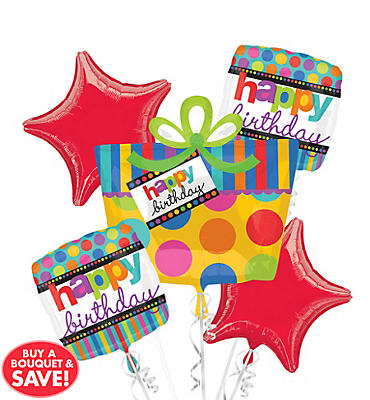 Dots & Stripes Happy Birthday Balloon Bouquet 5pc