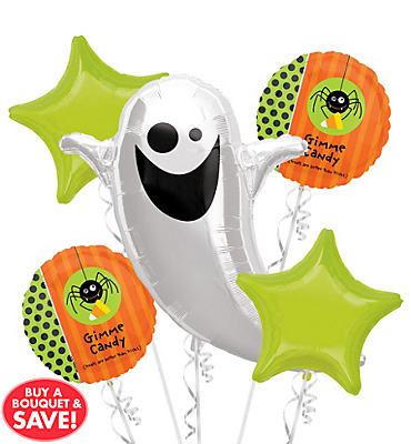 Flying Ghost Halloween Balloon Bouquet 5pc