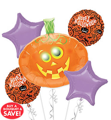 Pumpkin Halloween Balloon Bouquet 5pc