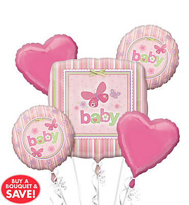 Foil Carter's Girl Baby Shower Balloon Bouquet 5pc