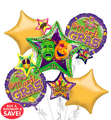Mardi Gras Star Cluster Balloon Bouquet 5pc