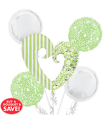 Foil Honeydew Heart Balloon Bouquet 5pc
