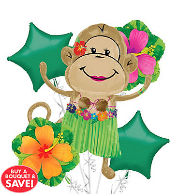 Foil Luau Monkey Girl Balloon Bouquet 5pc