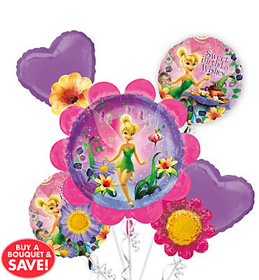 Foil Floral Tinker Bell Balloon Bouquet 5pc