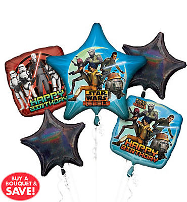 Happy Birthday Star Wars Rebels Balloon Bouquet 5pc
