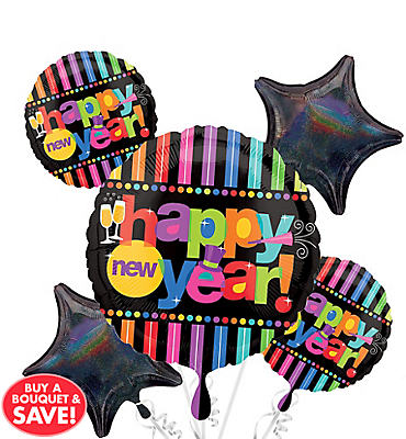 Happy New Year Balloon Bouquet 5pc - Bright
