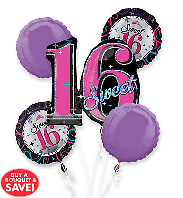 Happy Birthday Balloon Bouquet 5pc - Celebrate Sweet 16