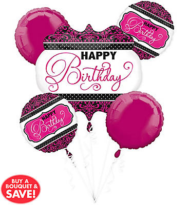 Black & Pink Birthday Balloon Bouquet 5pc