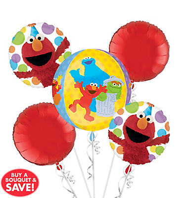 Sesame Street Balloon Bouquet 5pc - Orbz