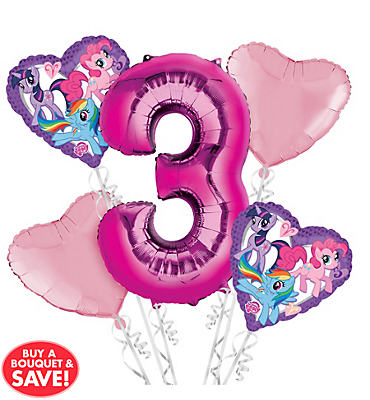 My Little Pony 3rd Birthday Balloon Bouquet 5pc
