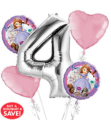 Sofia the First 4th Birthday Balloon Bouquet 5pc