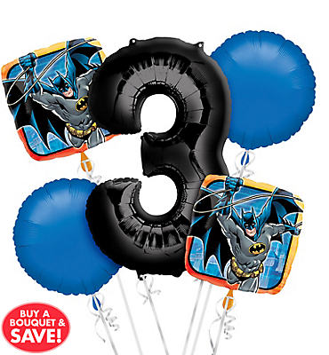 Batman 3rd Birthday Balloon Bouquet 5pc