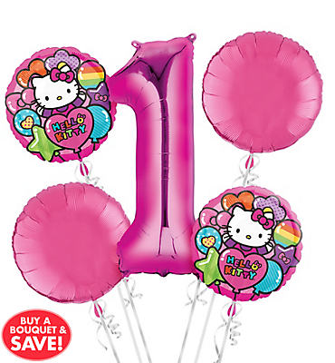 Rainbow Hello Kitty 1st Birthday Balloon Bouquet 5pc