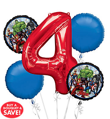 Avengers 4th Birthday Balloon Bouquet 5pc