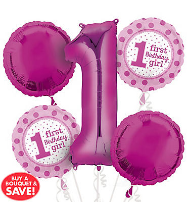 1st Birthday Balloon Bouquet 5pc - Polka Dot Girl