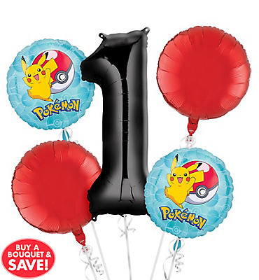 Pokemon 1st Birthday Balloon Bouquet 5pc