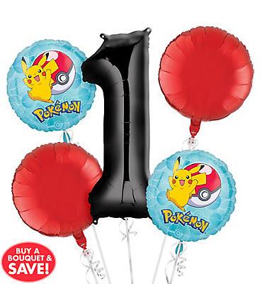 Pokemon 1st Birthday Balloon Bouquet 5pc
