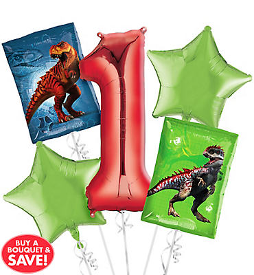 Prehistoric Dinosaurs 1st Birthday Balloon Bouquet 5pc
