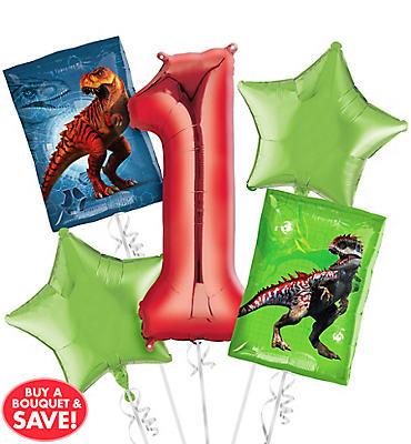 Prehistoric Dinosaurs 1st Birthday Balloon Bouquet 5pc