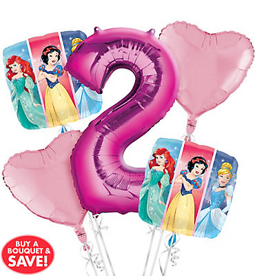 Disney Princess 2nd Birthday Balloon Bouquet 5pc