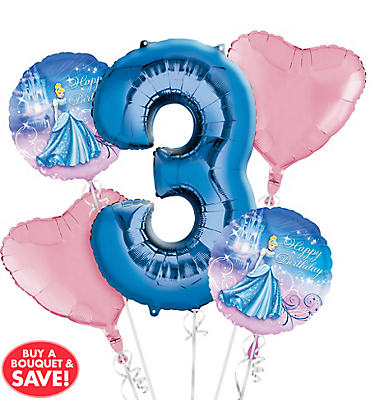 Cinderella 3rd Birthday Balloon Bouquet 5pc