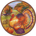 Festive Turkey Dessert Plates 8ct