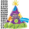 Party Hat Personalized Foil Balloon 18in