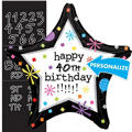 Happy Birthday Balloon - Personalized Black Star
