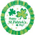 Foil Shamrocks Happy St. Patricks Day Balloon 18in