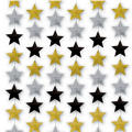 Black, Gold & Silver Stars New Years String Decorations 7ft 6ct