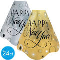 Black, Silver and Gold New Years Party Hats 24ct <span class=messagesale><br><b>42¢ per piece!</b></br></span>