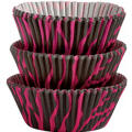 Hot Pink Zebra Print Baking Cups 75ct