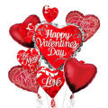 Swirl Heart Cluster Valentines Day Balloon Bouquet 5pc
