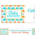 Baby Elephant Pattern Boy Custom Banner