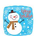Happy Holidays Balloon - Happy Snowman