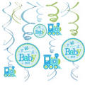 Boy Welcome Baby Swirl Decorations 12ct - Welcome Little One