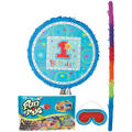 Pull String Round Blue 1st Birthday Pinata Kit