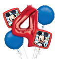Mickey Mouse 4th Birthday Balloon Bouquet 5pc
