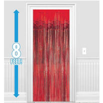 Red Foil Doorway Curtain 8ft