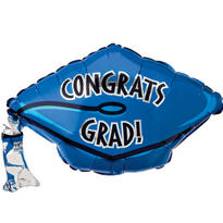 Foil Royal Blue Graduation Cap Balloon 18in