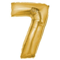 Number 7 Metallic Gold Foil Balloon 34in