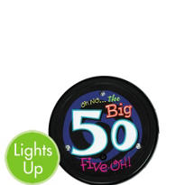 Light-Up Oh No 50th Birthday Button
