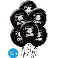 Black Latex Graduation Balloons 12in 20ct