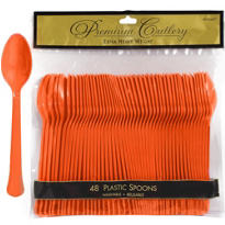 Orange Premium Plastic Spoons 48ct