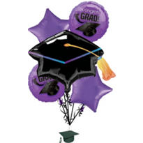 Foil Purple Graduation Balloon Bouquet 5pc