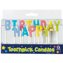 Pastel Happy Birthday Toothpick Candles 13ct